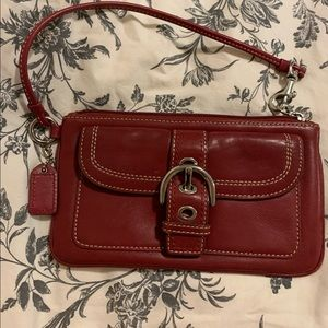 COACH wristlet deep red with silver hardware EUC